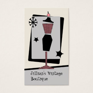 Vintage Store / Boutique - Pink & Black Dress Form Business Card