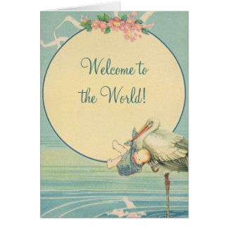 Vintage Stork Baby Boy Blanket, Welcome to World Greeting Card