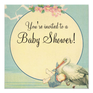 Vintage Stork Baby Boy Blue Blanket Baby Shower Invitation