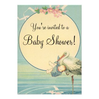 Vintage Stork Baby Boy Blue Blanket Baby Shower Invite