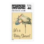 Vintage Stork Baby Boy Blue Blanket, Baby Shower! Stamp