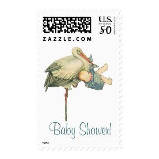 Vintage Stork Baby Boy Blue Blanket, Baby Shower! Postage