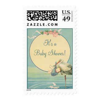 Vintage Stork Baby Boy Blue Blanket, Baby Shower! Postage Stamp