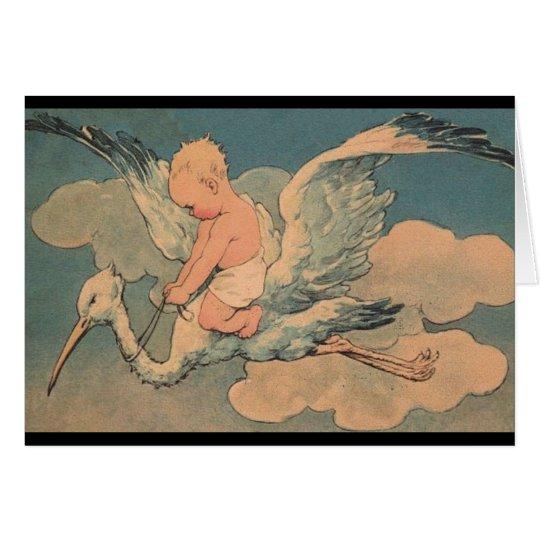 Vintage Stork Baby Card