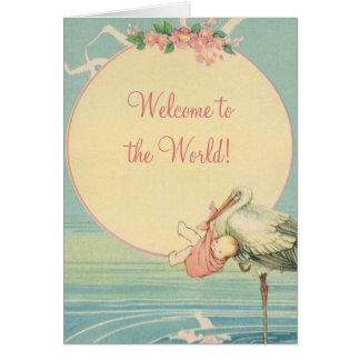 Vintage Stork Baby Girl Blanket, Welcome to World Greeting Card
