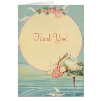 Vintage Stork Baby Girl in Pink Blanket, Thank You Stationery Note Card