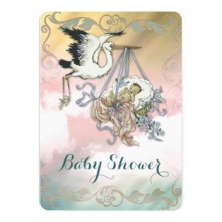 Vintage Stork Baby Shower 5x7 Paper Invitation Card