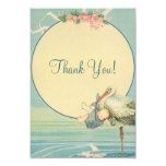 Vintage Stork Blue Boy Baby Shower Thank You 3.5x5 Paper Invitation Card