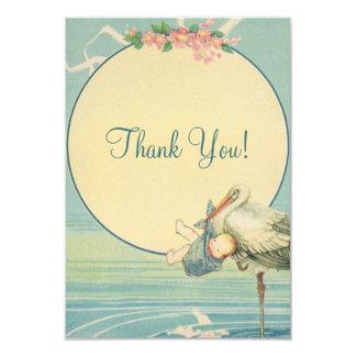 Vintage Stork Blue Boy Baby Shower Thank You 3.5x5 Paper Invitation Card