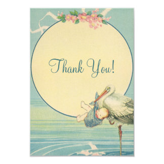 Vintage Stork Blue Boy Baby Shower Thank You Card