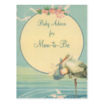 Vintage Stork Carrying Baby Boy in Blue Blanket Post Card