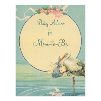 Vintage Stork Carrying Baby Boy in Blue Blanket Postcard