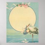 Vintage Stork Carrying Baby Boy in Blue Blanket Poster