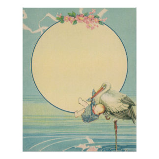 Vintage Stork Carrying Baby Boy in Blue Blanket Poster