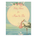 Vintage Stork Carrying Baby Girl in a Pink Blanket Post Card