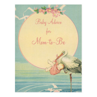 Vintage Stork Carrying Baby Girl in a Pink Blanket Postcard