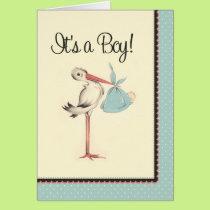 Vintage Stork It's a Boy Birth Announcement