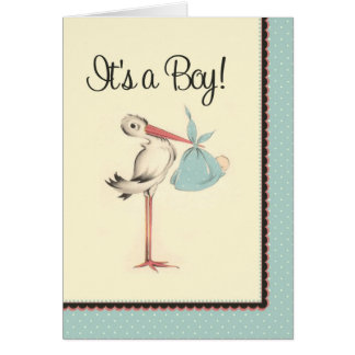 Vintage Stork It's a Boy Birth Announcement Greeting Card