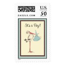 Vintage Stork It's a Boy Birth Announcement Stamp