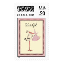 Vintage Stork It's a Girl Birth Announcement Stamp