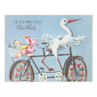 Vintage Stork on Bike To You and Your Baby Postcard