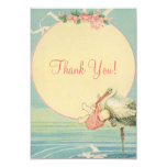 Vintage Stork Pink Girl Baby Shower Thank You 3.5x5 Paper Invitation Card