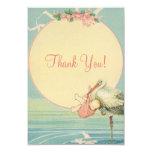 Vintage Stork Pink Girl Baby Shower Thank You Card