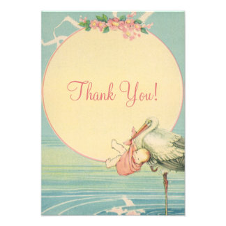 Vintage Stork Pink Girl Baby Shower Thank You Custom Announcement
