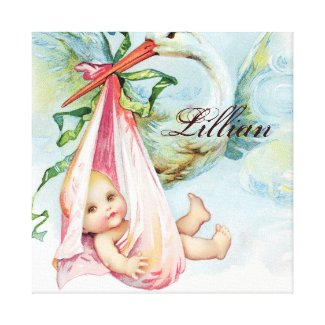 Vintage Stork Pink Nursery Wall Hanging Gallery Wrapped Canvas