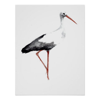 Vintage stork poster with white stork watercolor