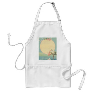 Vintage Stork with Baby Girl in Pink Blanket Adult Apron