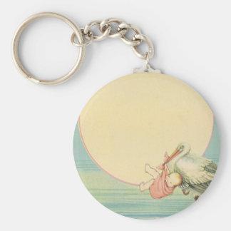 Vintage Stork with Baby Girl in Pink Blanket Basic Round Button Keychain