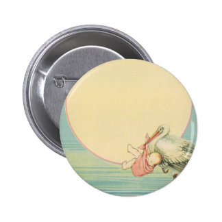 Vintage Stork with Baby Girl in Pink Blanket Button