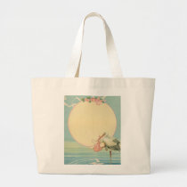 Vintage Stork with Baby Girl in Pink Blanket Large Tote Bag