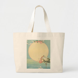 Vintage Stork with Baby Girl in Pink Blanket Large Tote Bag