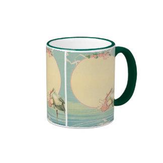 Vintage Stork with Baby Girl in Pink Blanket Ringer Coffee Mug