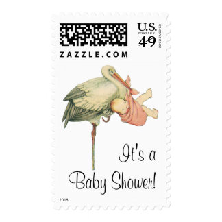Vintage Stork with Baby Girl in Pink Blanket Stamps