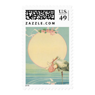 Vintage Stork with Baby Girl in Pink Blanket Postage Stamp