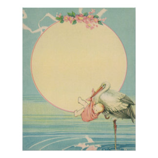 Vintage Stork with Baby Girl in Pink Blanket Poster
