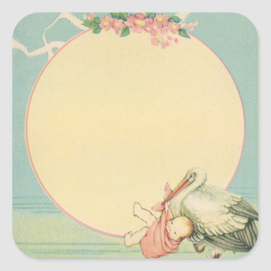 Vintage Stork with Baby Girl in Pink Blanket Square Sticker