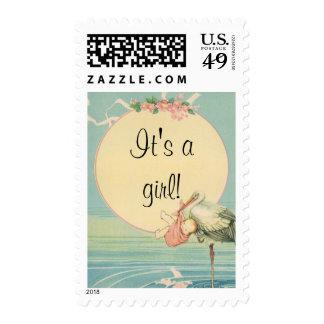Vintage Stork with Baby Girl in Pink Blanket Stamp