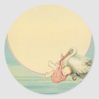Vintage Stork with Baby Girl in Pink Blanket Round Stickers