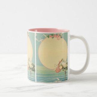 Vintage Stork with Baby Girl in Pink Blanket Two-Tone Coffee Mug