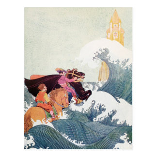 Vintage Story Book Illustration: A Great Castle Postcard