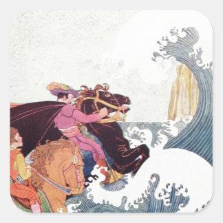 Vintage Story Book Illustration: A Great Castle Square Sticker