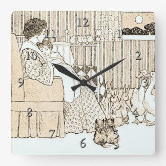 Vintage Story Time in Sepia Square Wallclock
