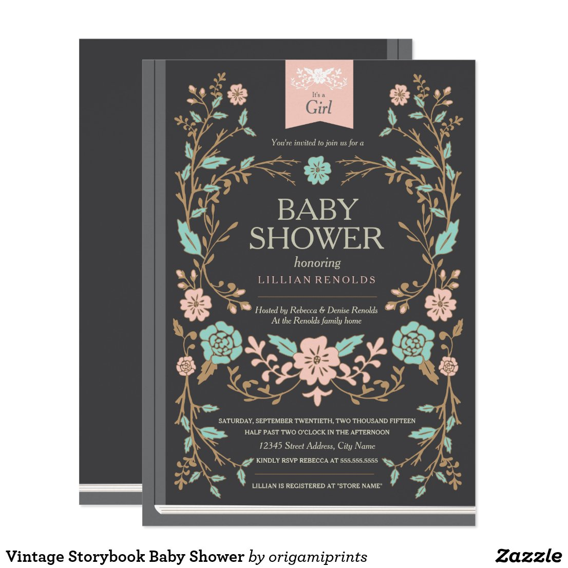 Vintage Storybook Baby Shower Card