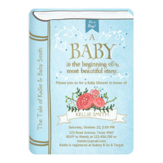 Vintage Storybook Baby shower invitation Boy Blue