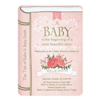 Vintage Storybook Baby shower invitation Pink Gold