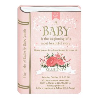Superior Vintage Storybook Baby Shower Invitation Pink Gold